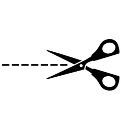 scissors silhouette and cut line vector image vector image