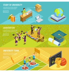University education 3 isometric horizontal vector