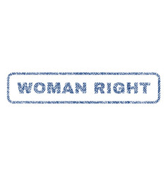 Woman right textile stamp vector
