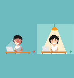 wrong and right for proper lighting in the room vector image vector image