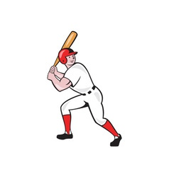 Baseball Player Bat Side Isolated Cartoon vector image