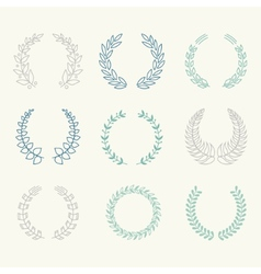 Collection of Laurels Floral Elements and vector image vector image