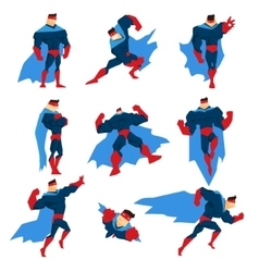 Superhero With Blue Cape In Different Comics vector image vector image