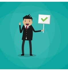 Cartoon Businessman hold sign with tick vector image
