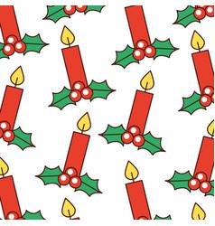 christmas candle burning celebration decoration vector image