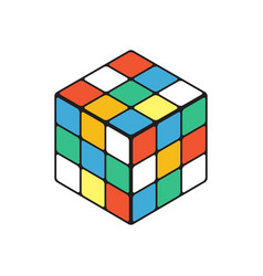 Colored cube in isometry isolated on a white vector