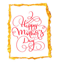 Happy mothers day vintage red text in gold vector