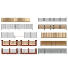 Metal and wooden fences and gates vector image
