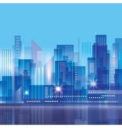 Modern night city skyline vector image vector image