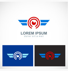 round eye wing technology logo vector image vector image