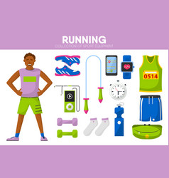 running sport equipment marathon runner man vector image
