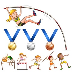 Sport medals and different type of track and field vector image
