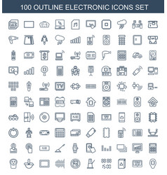100 electronic icons vector