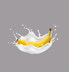 3d banana and milk splash vector image