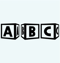 Alphabet cubes with abc letters vector