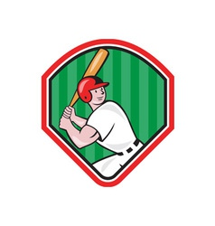 American Baseball Player Bat Diamond Cartoon vector image