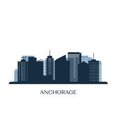 Anchorage skyline monochrome silhouette vector
