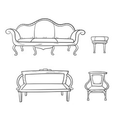 Antique furniture set - chair couch sofa chair vector