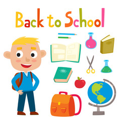 back to school set with pretty stylish boy stand vector image
