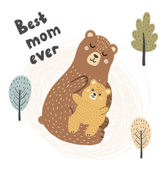 Best mom ever print with cute bears vector