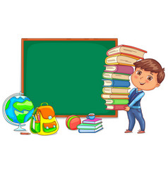 Blackboard and cute child with books vector