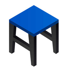 blue backless chair icon isometric style vector image