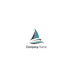 boat sail travel company logo vector image