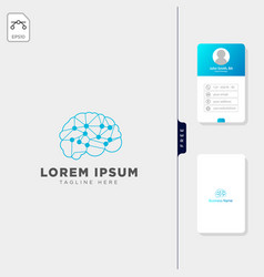brain molecular tech logo template and free vector image