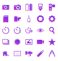 camera gradient icons on white background vector image