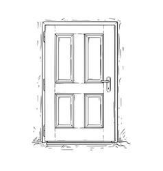 Cartoon of closed wooden decision door vector