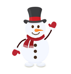 cartoon snowman merry christmas character vector image