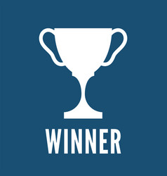 champion trophy cup white icon winner vector image