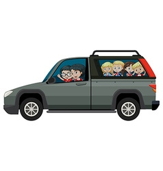 Children riding on pick-up truck vector image
