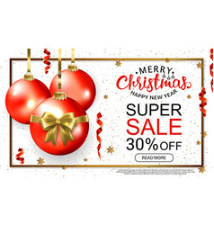 christmas sale template card with realistic red vector image