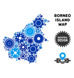 Collage borneo island map of gears vector
