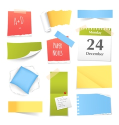 Colorful Realistic Paper Notes Collection vector image