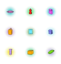 Container icons set pop-art style vector image