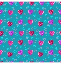 Crystal hearts valentine day pattern vector