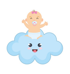 cute and little girl baby in cloud vector image