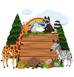 Cute animals around wooden board in the park vector