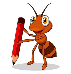 Cute ant cartoon with red pencil vector image