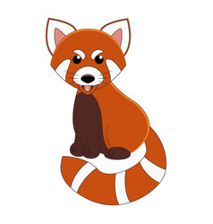 Cute cartoon red panda exotic animal vector