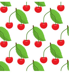 cute cherry seamless pattern with flat and solid vector image