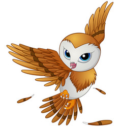 cute owl cartoon flying vector image