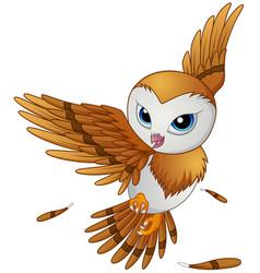 Cute owl cartoon flying vector
