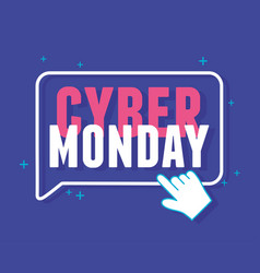 Cyber monday clicking lettering announce blue vector