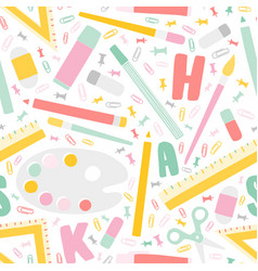 decorative back to school seamless pattern with vector image