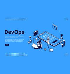 Devops development operations landing page vector