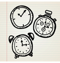 Doodle clocks set vector image