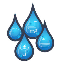 Drops of water for plumbing repairs vector